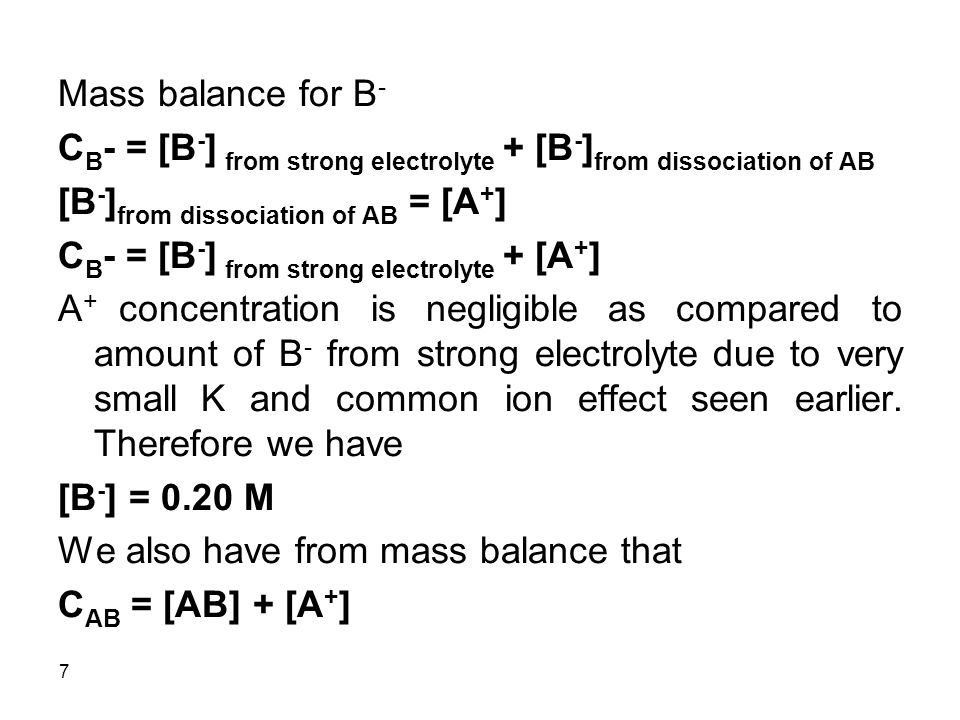 Mass balance for B- CB- = [B-] from strong electrolyte + [B-]from dissociation of AB. [B-]from dissociation of AB = [A+]